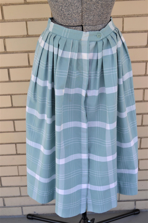 4cff0a4cf 80s does 50s style plaid skirt, 1980s blue circle skirt, vintage tea length  midi skirt, 80s clothing Regatta, full print skirt by strangewaysvintage on  Etsy