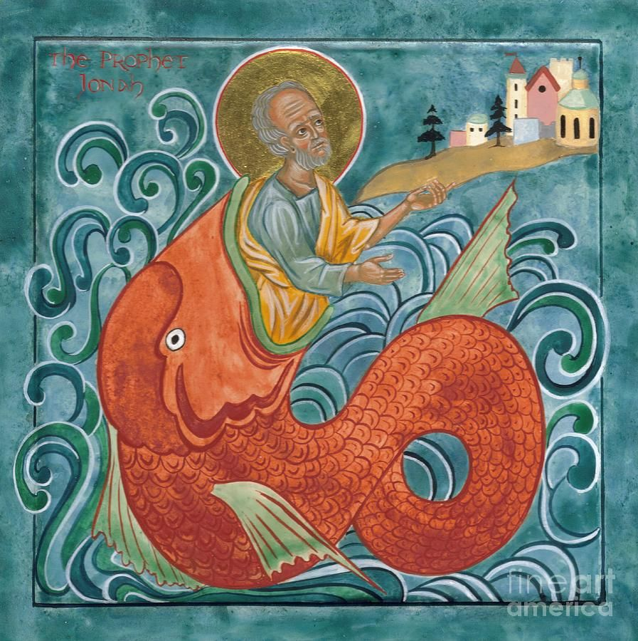 Icon Of Jonah And The Whale Canvas Print / Canvas Art by Juliet ...