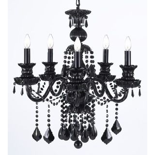 Gallery royal black crystal 5 light chandelier lighting love this unique version from the royal collection features the jet black crystal that capture and reflect the light of the candle bulbs each resting in a mozeypictures Image collections