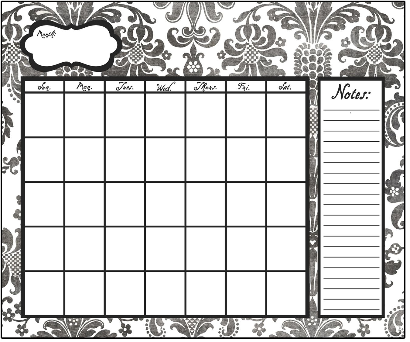 Black Damask Dry Erase Calendar By Poppy Seed Projects.com