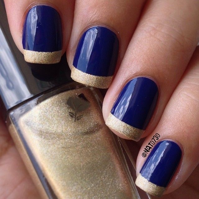 Instagram Photo By Nat0730 Nail Nails Nailart Nails Now Gold Tip Nails Blue Gold Nails