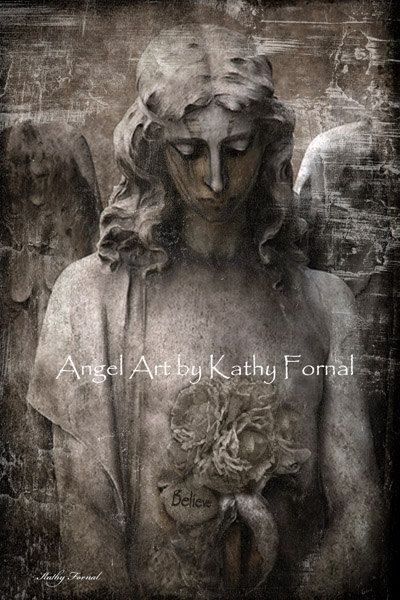 "Gothic Angel Photography ,Surreal Gothic Angel Art Photo, Haunting Sad Angel, Eerie Gothic Angel, ""Believe"" Fine Art Photograph 8"" x 12"""