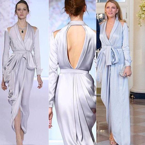 Inspired by Blake Lively Celebrity Dresses Sheath Light Blue Deep V Neck Keyhole Back Prom Dresses Evening Formal Gowns