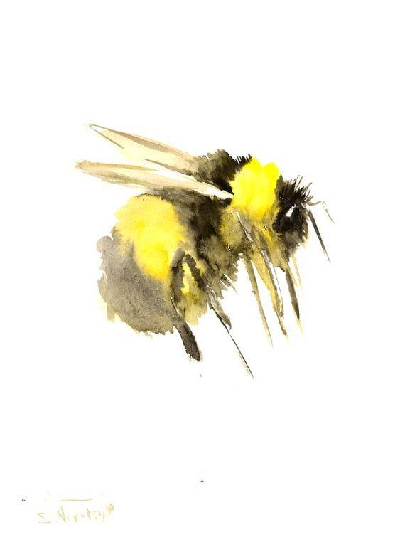 Flying Bumblebee, original watercolor painting, 12 X 9 in, bee lvoer art, bee painting, flying bee, yellow black
