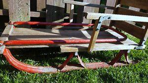 Vintage Wooden Sled Sleigh with Metal Runners - Folding Sleigh Oshawa / Durham Region Toronto (GTA) image 1