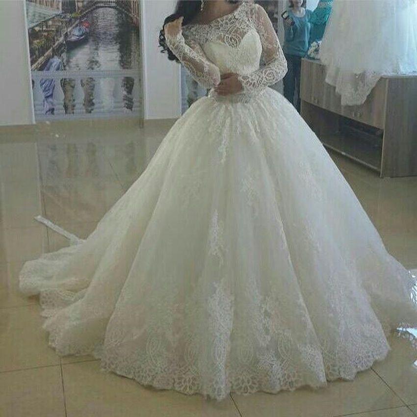 Spitze Weiß Ivory Langarm Brautkleider Hochzeitskleid Ballkleid ...