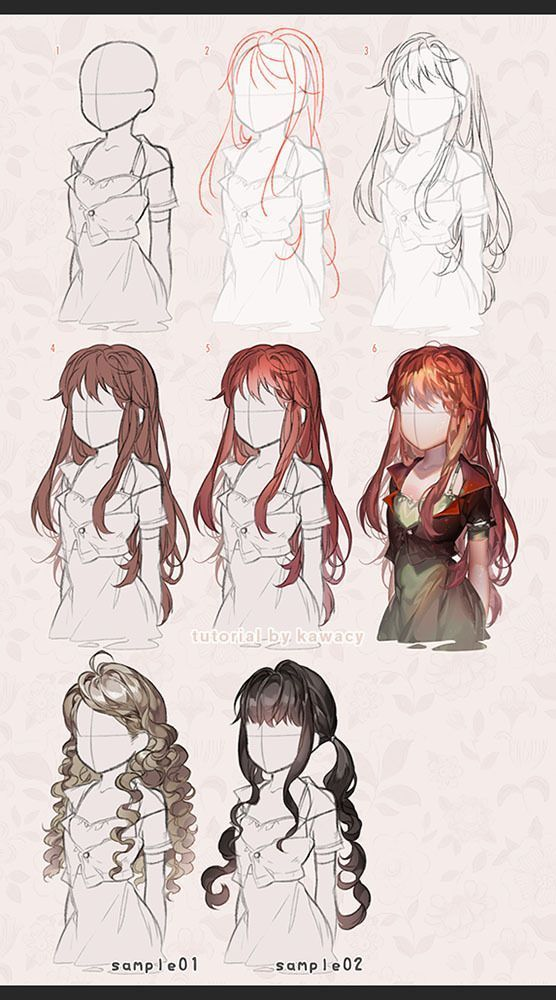 Drawing Hairstyles For Your Characters Drawing On Demand How To Draw Hair Manga Hair Long Hair Drawing