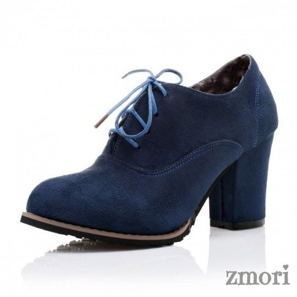 fa30f497387 Blue Suede Old School Vintage Lace Up High Heels Women Oxfords Shoes ...