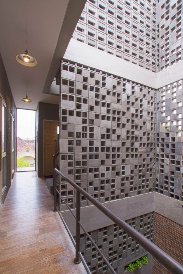 Architecture Design Concrete Roster Wall Industrial House Stools Iron Fence Pendant Lamp - Elements of at Tropical Residential
