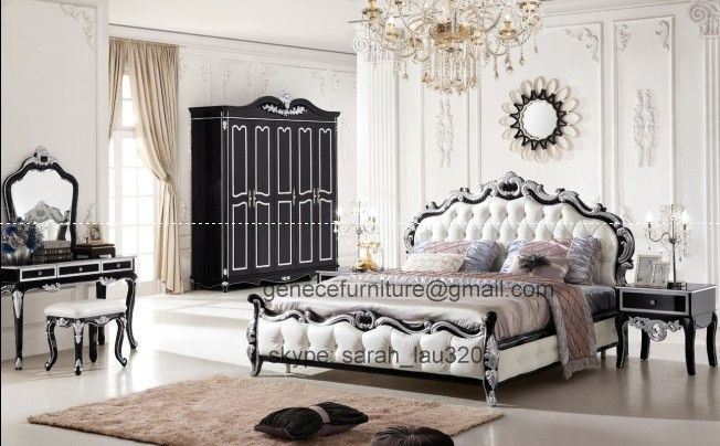 Middle East Antique Style Bedroom Sets Matching Wardrobe Dressing Table Top Grain Leather Bed Frame