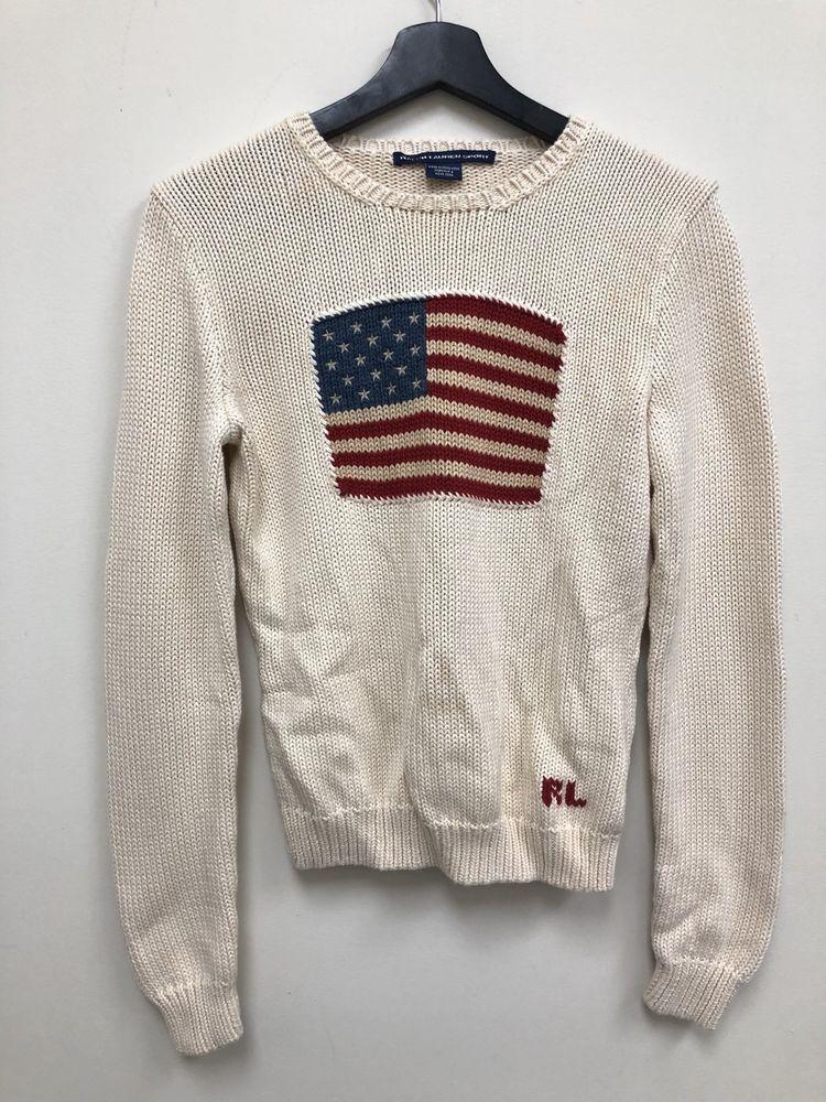 Vintage Polo Sport Ralph Lauren USA Flag Sweater Womens