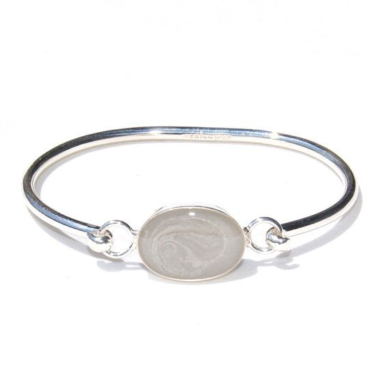Bangle Clasp Cremation Bracelet With 20 X 14mm Oval Pendant Sterling Silver Pet Ashes Jewelry