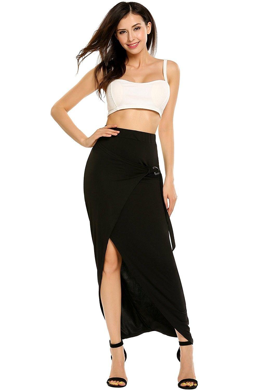 e30d35fd4b4 ... Split A Line Long Skirt Beach Lightweight Ankle Length Maxi Skirts -  Black - CD185QT872Z