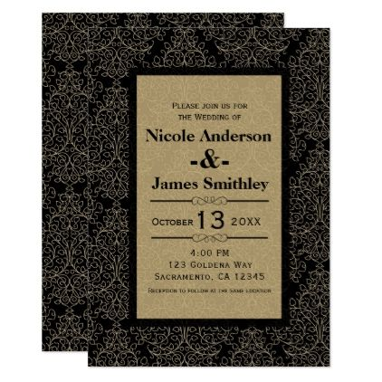 Gold Black Damask Art Deco Glamour Chic Wedding Card invitations