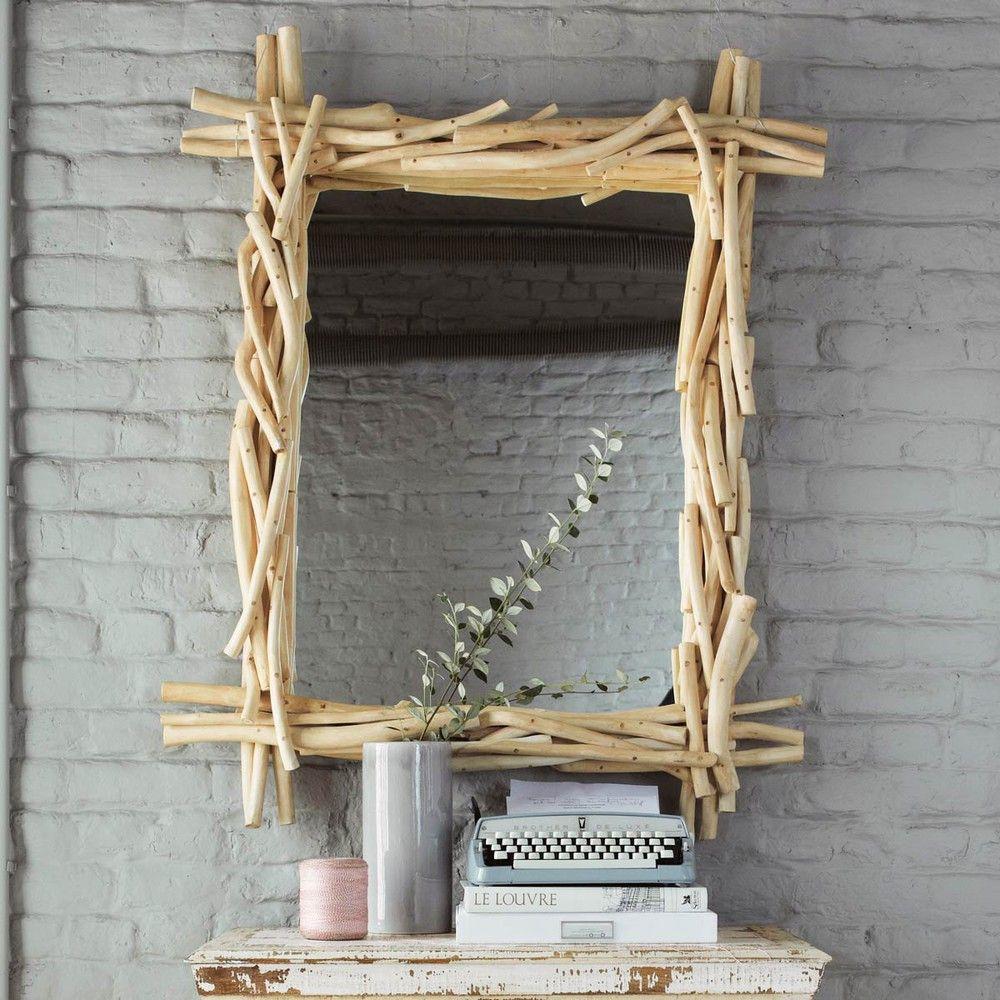 Miroir en bois flott h 113 cm miroir salle de bains for Miroir salle de bain bois