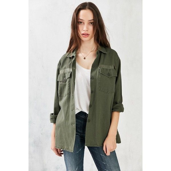 Silence + Noise Milli Surplus Shirt Jacket ($50) ❤ liked on Polyvore featuring outerwear, jackets, oversized military jacket, oversized jacket, green military style jacket, green jacket and military jacket