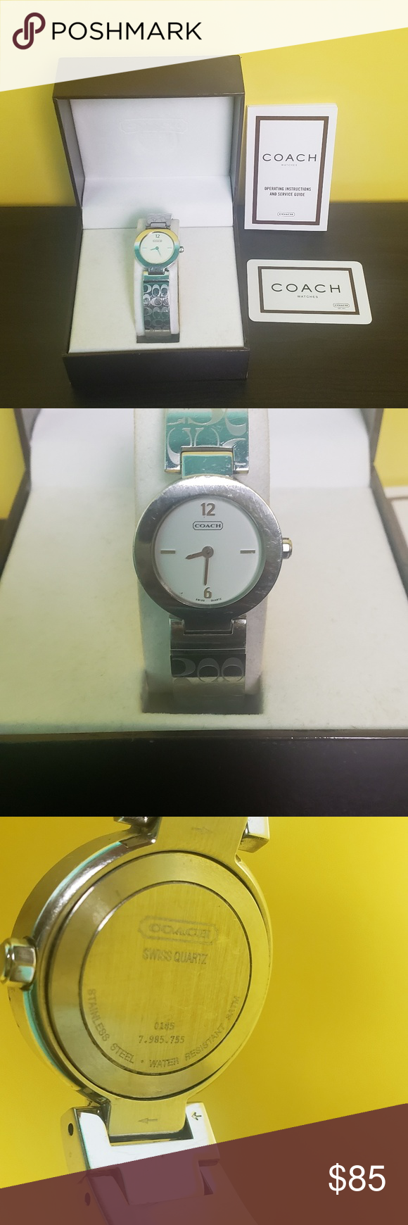 Coach Signature Logo Watch 100 Authentic Stainless Steel Excellent Used Condition Coach Accessories Watches Signature Logo Watches Logo Coach