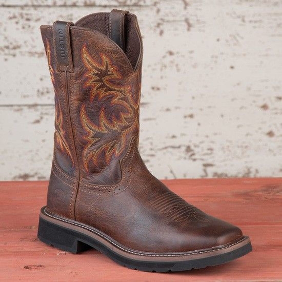 Justin Brown Square Toe Stampede Work Boot Shoes Mens