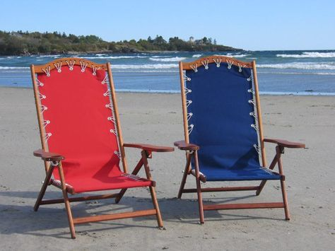 Oh Yeah Comfy Beach Chairs Sunbrella Fabric Brazilian Cherry Frame Stainless Hardware And Bungee Support System Made In Maine