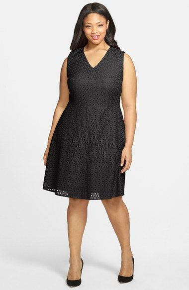 Halogen Eyelet Fit Flare Dress Plus Size Available At