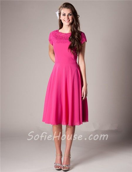 Modest A Line Short Sleeve Hot Pink Chiffon Lace Wedding Party ...