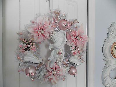 HANDMADE  SHABBY VINTAGE CHERUB ROSE & ICE SKATE WHITE & PINK CHRISTMAS WREATH