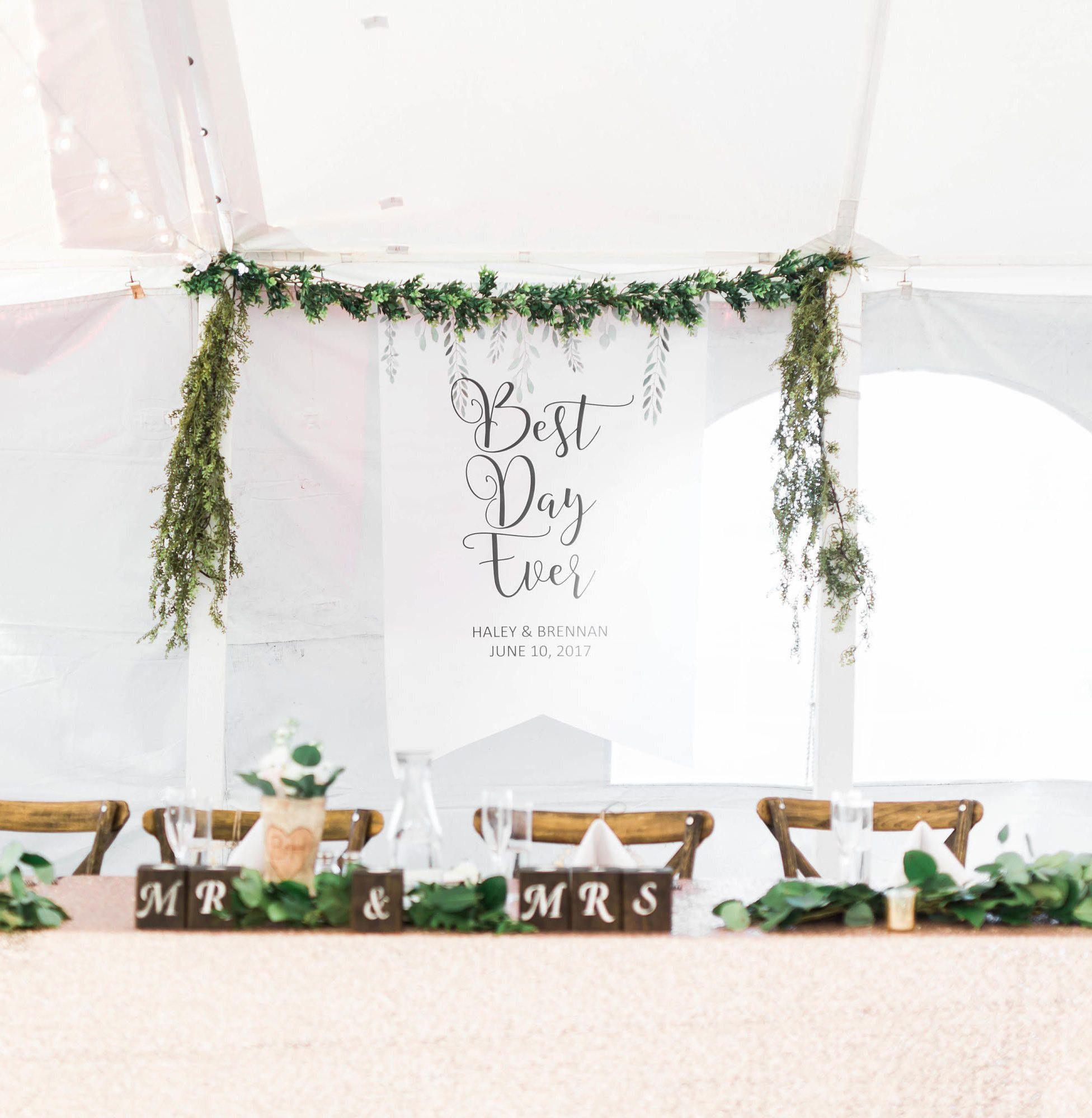Boho Wedding Backdrop Sign Banner With