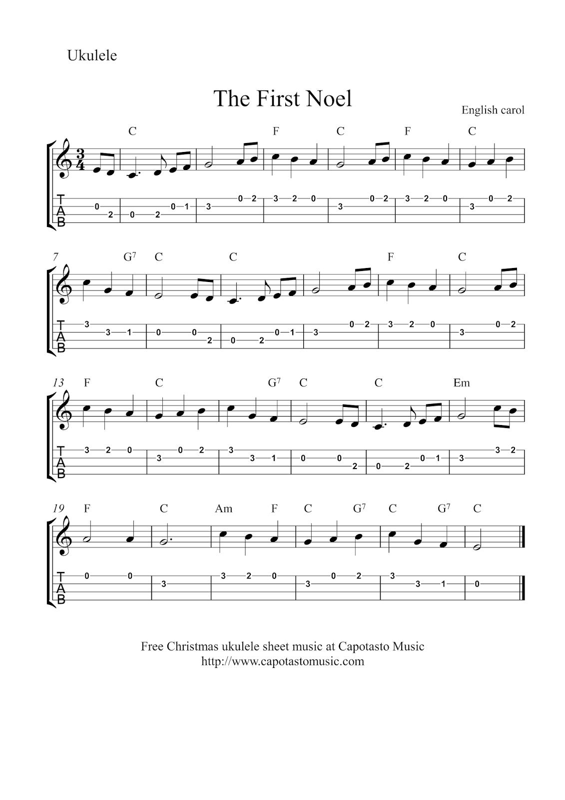 Free Sheet Music Scores: Free Christmas ukulele sheet music - The First Noel | Christmas ukulele ...
