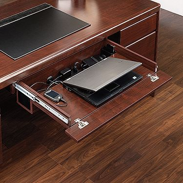 Pull Out Keyboard Laptop Drawer With Flip Down Front Features Full Extension Slides Strip Three Outlets For Convenient Electrical Cord Access