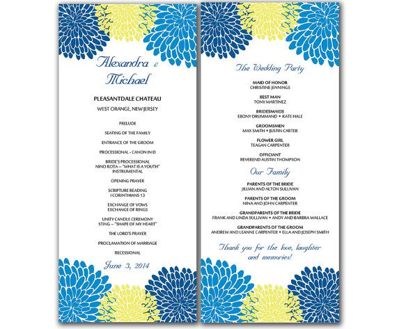 DIY Blue and Yellow Chrysanthemum Wedding Program Microsoft Word - sample program templates