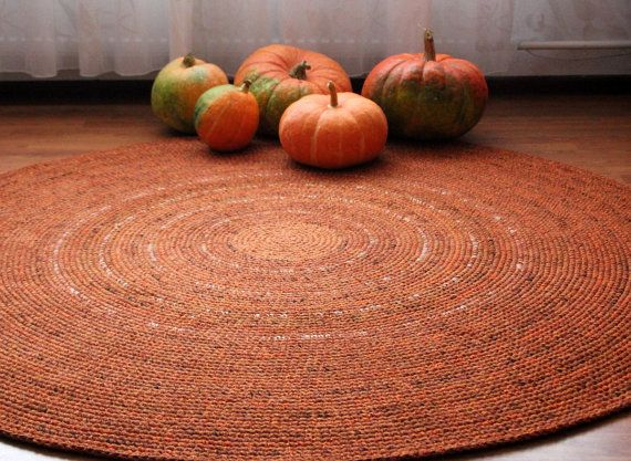 Made To Order Large Crochet Round Rug Beautiful Orange Shades
