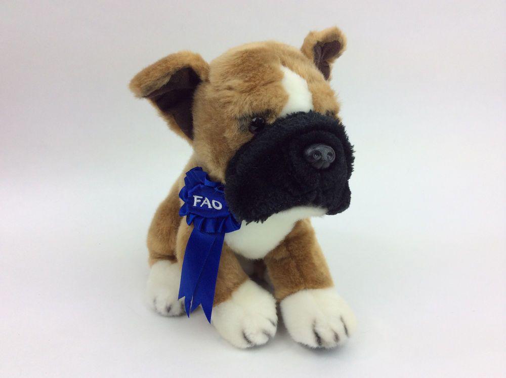 351a00400719 FAO Schwarz Puppy Dog Brown Black Blue Ribbon Plush Stuffed Animal 8