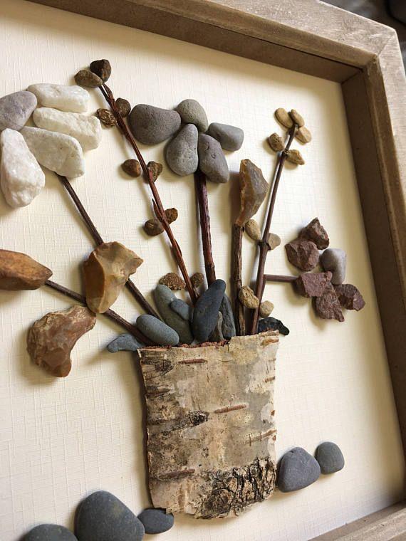 Everlasting Flower Pebble Art Flowers Framed Picture Pebble Art Shell Crafts Diy Driftwood Wall Art
