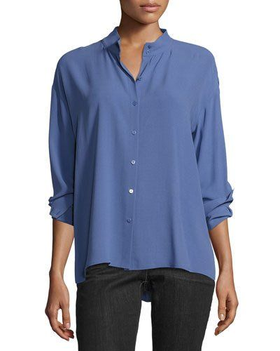Long-Sleeve Button-Front Boxy Silk Blouse, Plus Size