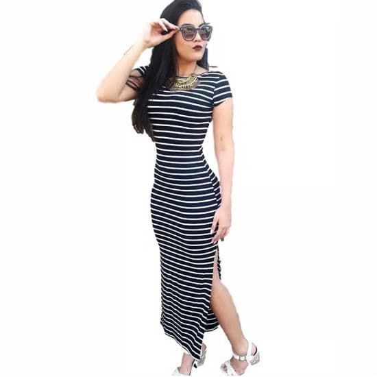 8c189e6798631 vestido-longo-de-verao-justo-e-com-fenda   Feminina   Pinterest ...