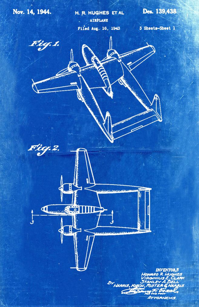 Blueprint Art of Patent 139438 Hughes PlaneTechnical Drawings ...