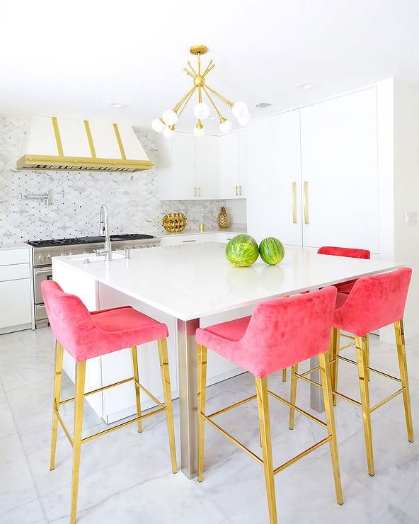 Hot Pink Barstools In A Glam White And Gold Kitchen