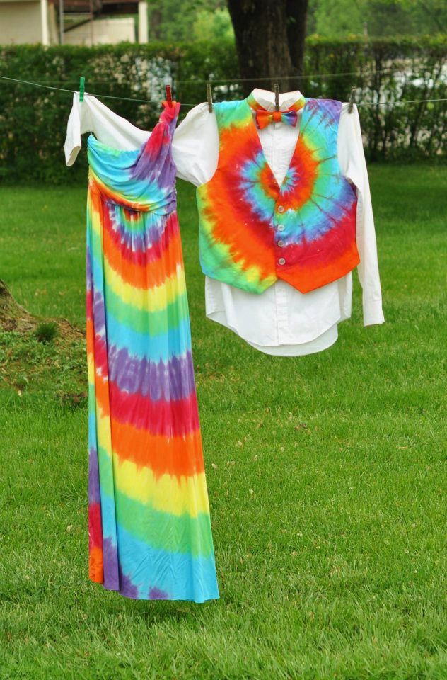 hippie style wedding dresses tie dye | tie-dyed wedding dresses ...