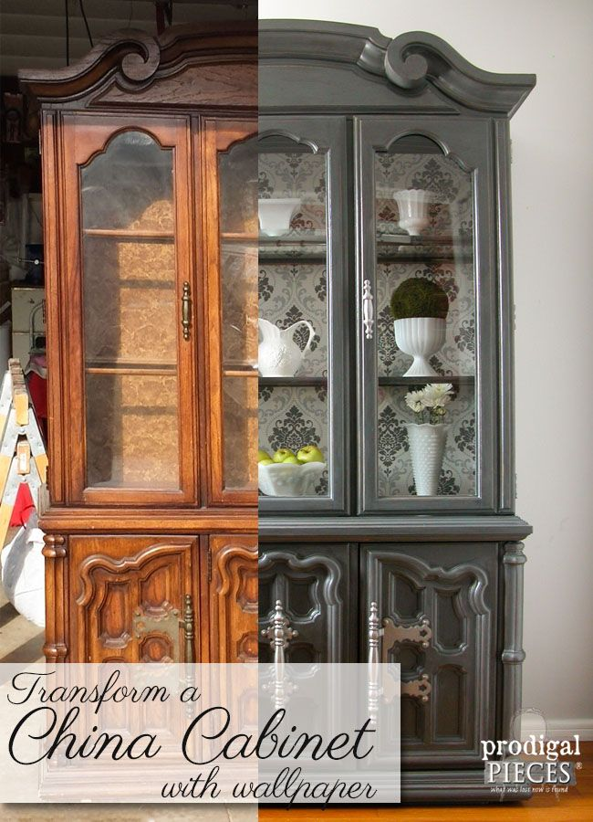 China Cabinet Makeover With Wallpaper Repurposed Furniture Diy Redo Furniture China Cabinet Makeovers