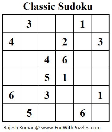 Classic Sudoku (Mini Sudoku Series #26) | Printable Puzzles