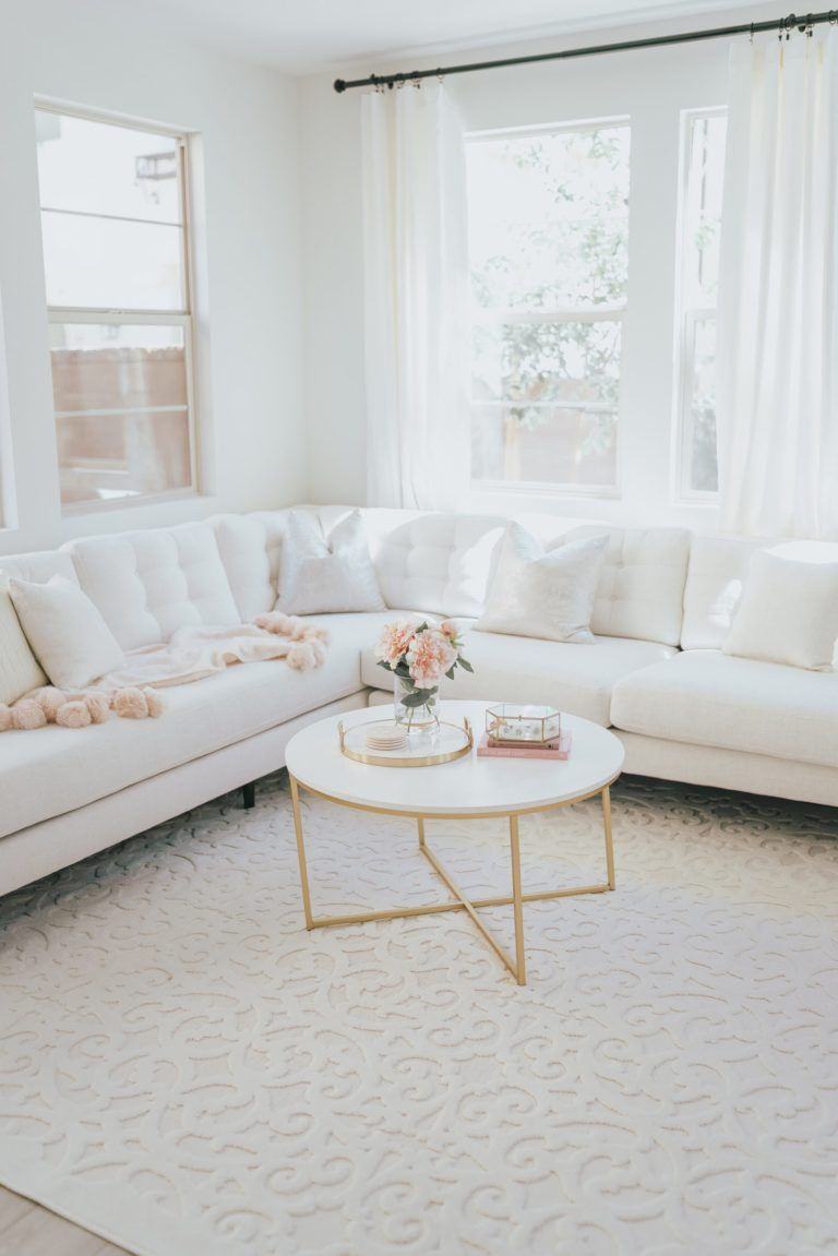 All White Living Room A Touch Of Pink Blog Elegant Living