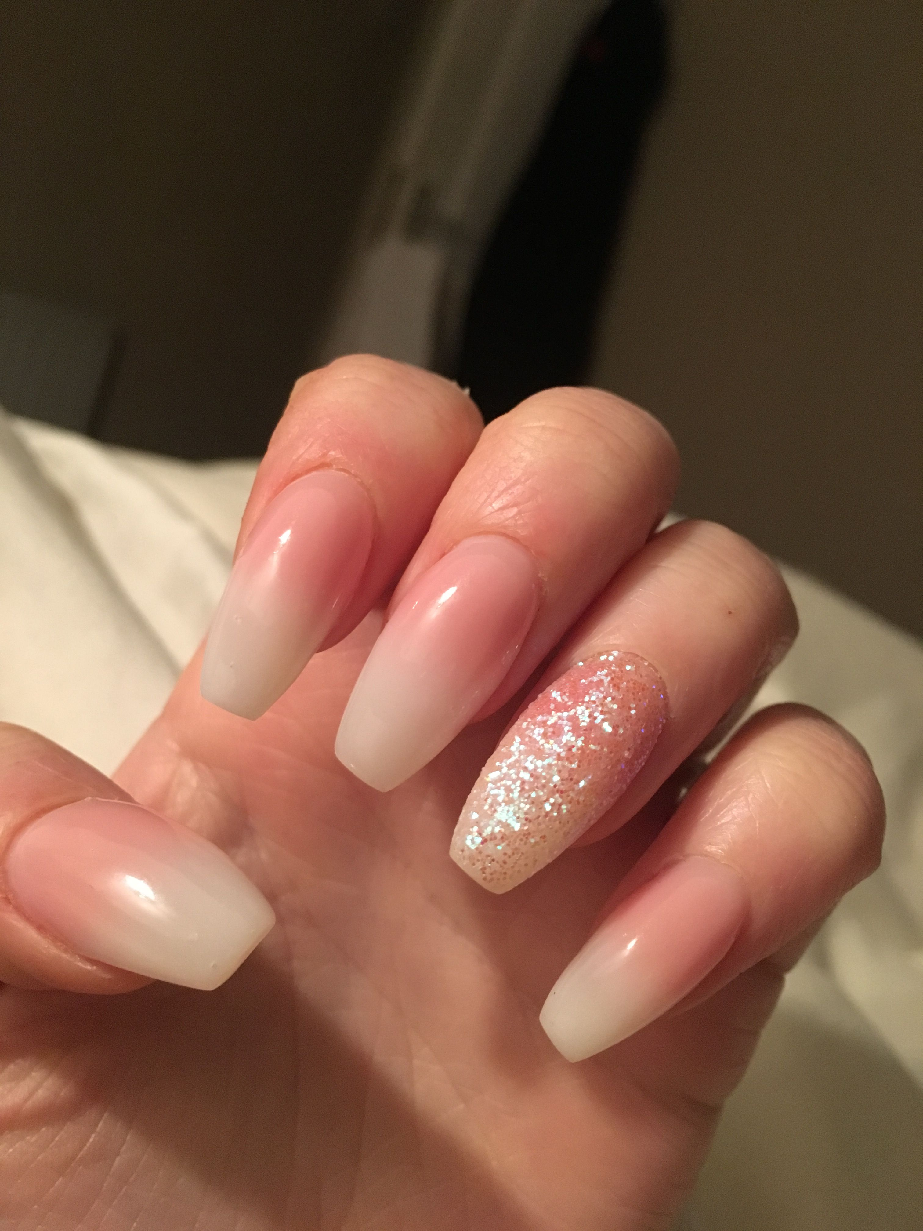Gel Nails Baby Boomer Pink And White Ombre Glitter Gel Nails Pink Ombre Nails Gel Nails French
