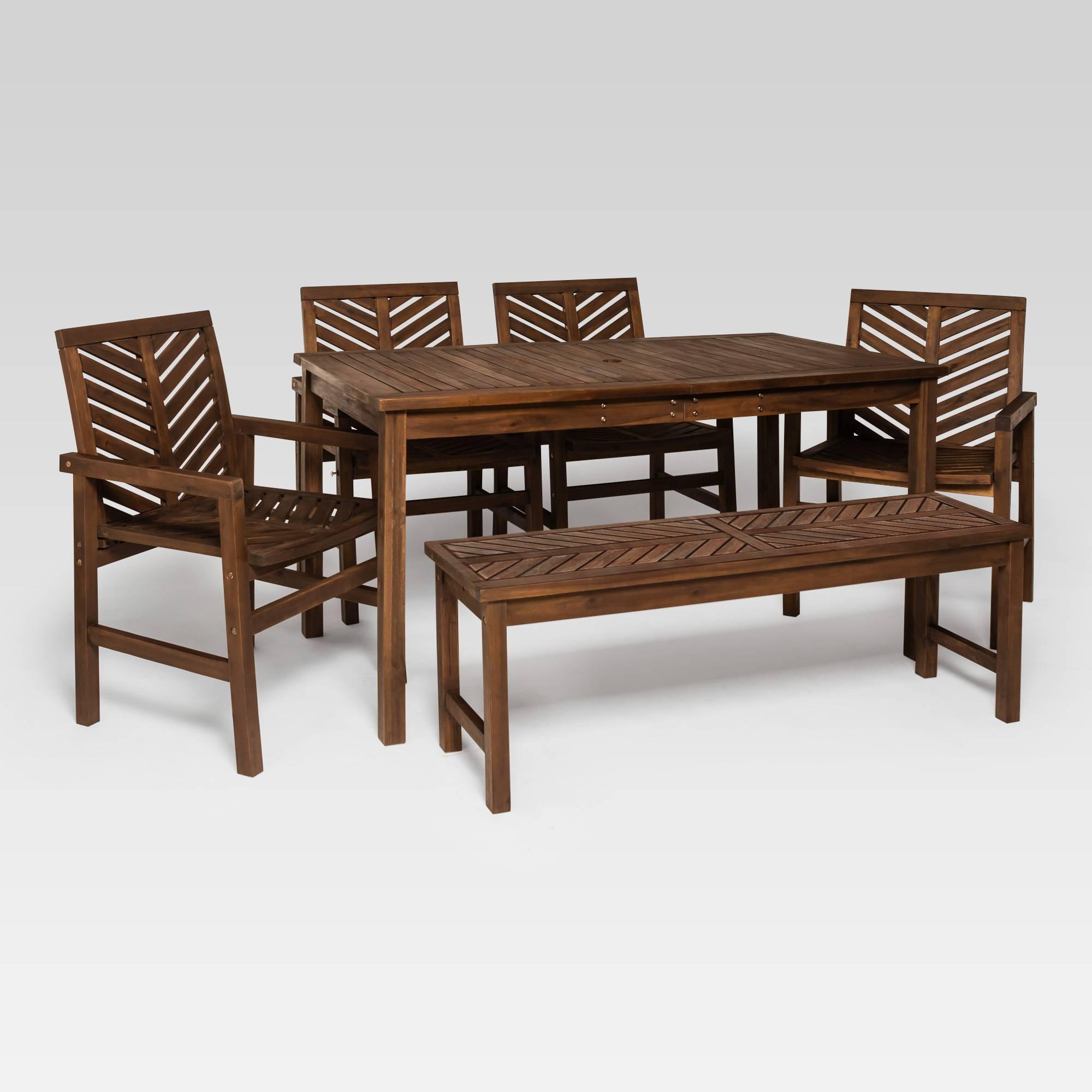 6pc Chevron Outdoor Patio Dining Set Dark Brown Saracina Home