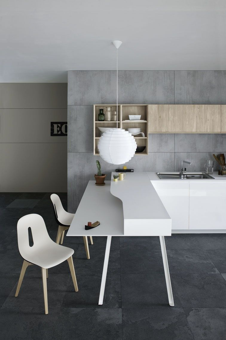 kitchen with peninsula without handles mila 02 by cesar arredamenti rh pinterest com
