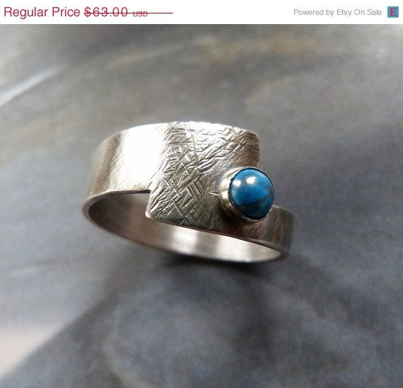 CIJ SALE 15% Turquoise Sterling silver ring, handcrafted ring, textured metalwork ring, OOAK jewelry