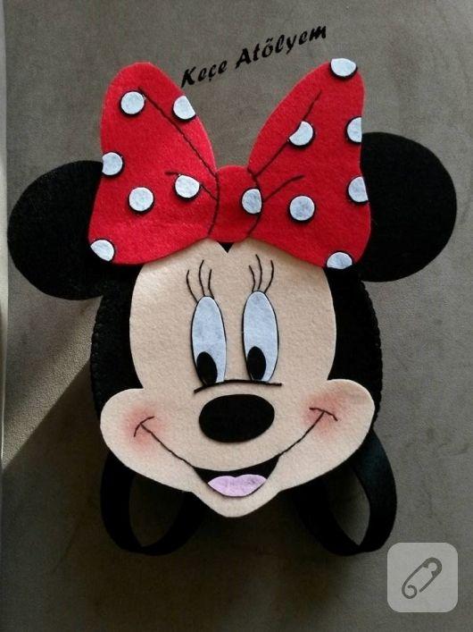 keçeden yapılmış minnie mouse şeklinde sırt çantası minik prensesler için  yapılmış. çantanın eni 21 cm 99c370b04fb