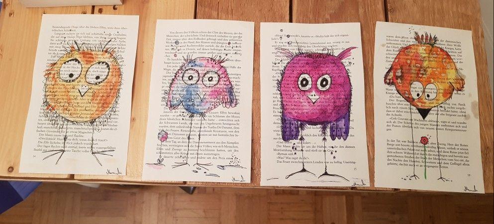 Vogel Auf Buchseite In Aquarell Buchseiten Kreativ Bucher