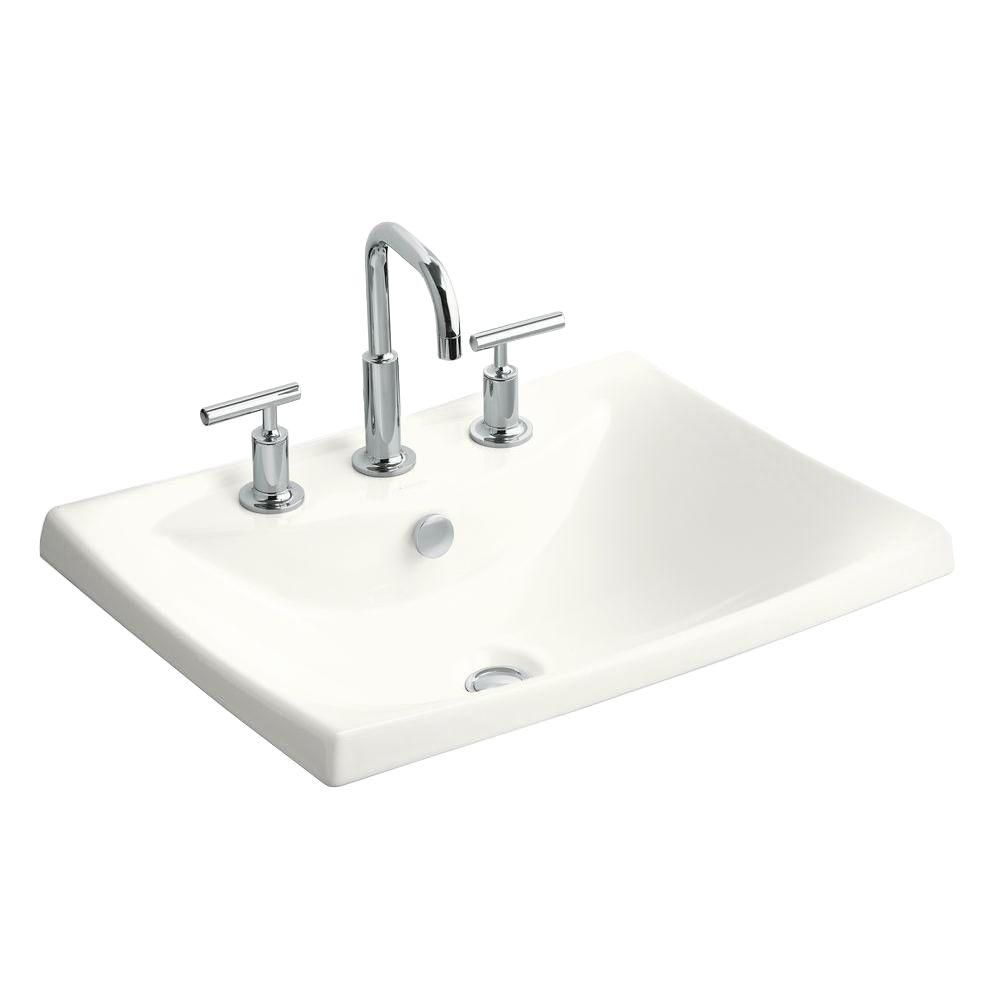 KOHLER Escale Drop-In Ceramic Bathroom Sink in White with Overflow on bathroom sink with water, bathroom sinks kohler toilet colors, bathroom vanity wall mirror, bathroom fixtures by kohler, bathroom drop in sink closeout,