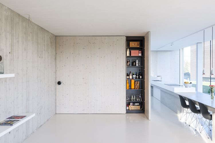 Küche Taschentür Holz Sichtbeton Wandgestaltung | Wohnideen Küche ...