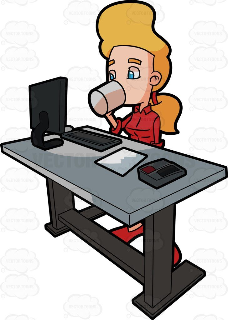 a woman takes a short break from work by drinking from a coffee cup rh pinterest ca
